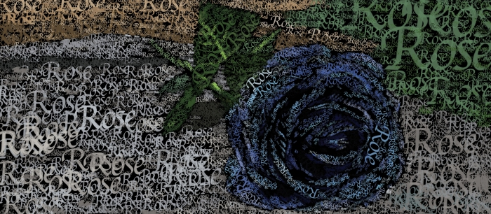 Typography of a blue rose